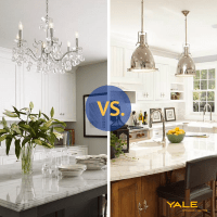 Pendants vs. Chandeliers Over a Kitchen Island (Reviews