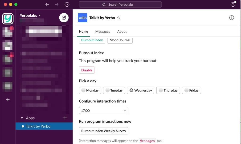 Talkit's burnout risk tracker configuration screen.