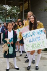 Welcoming back students on the first day of school