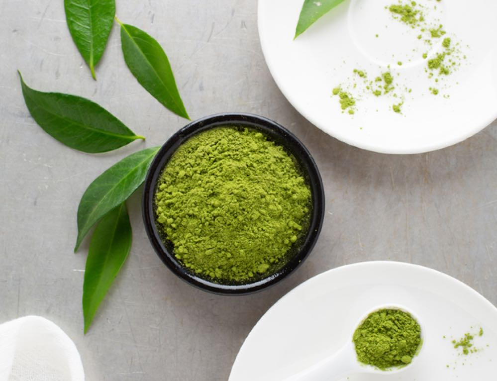 Matcha powder in a cup