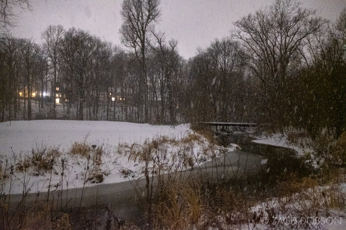 photos of night snow in Indiana