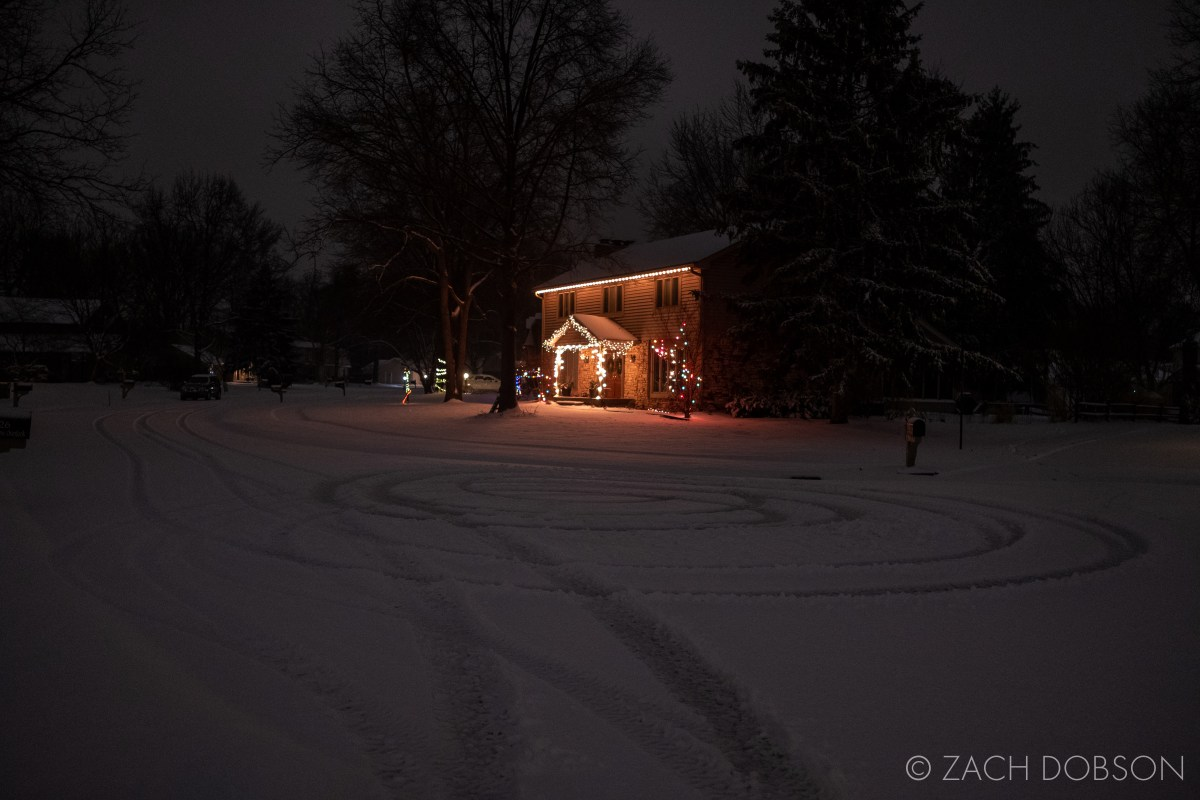 photos of night snow in Indiana holiday lights