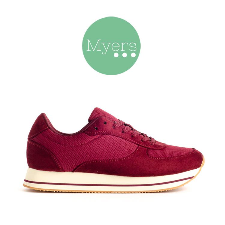 Zapatillas Myers en color burdeos.