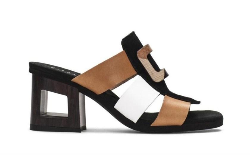 Sandalia destalonada de piel con tacón ancho ( negro, blanco, beige) : Hispanitas CHV87003