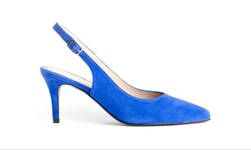 Zapato de piel destalonado azul eléctrico con tacón fino Stephen Allen SALON A.TALON