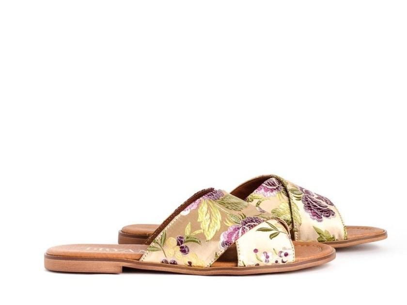 Sandalias planas de satén estilo oriental Bryan 1500