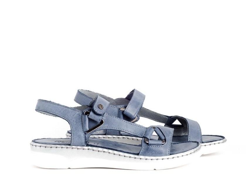 Sandalias planas juveniles y cómodas con velcro azules Riposella 40709