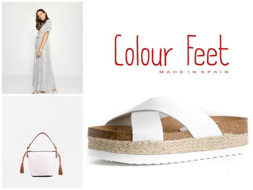 Look compuesto por vestido camisero Surkana, bolso Pepe Moll y sandalias Macarella Colour Feet.