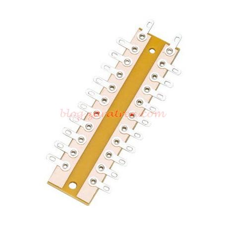 Brawa - Regleta para conexionados por soldadura, dos polos, 10 espacios, 72 mm., Ref: 3915.