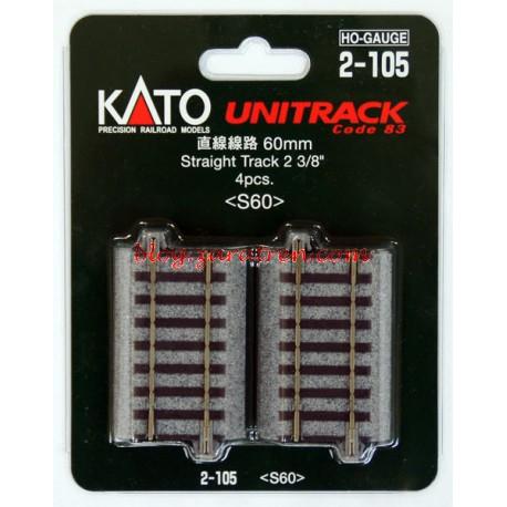 Cuatro tramos de vía recta de 60 mm, Tipo UNITRACK, Escala H0, Marca Kato, Ref: 2-105.