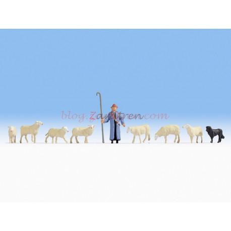 Noch - Pastor, perro y 7 ovejas, excelente calidad, Escala H0, Ref: 15748