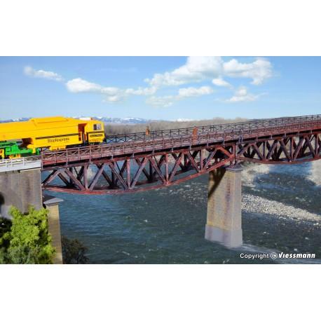 Kibri - Puente de acero en arcada, de vía única, Kit para montar, Escala H0, Ref: 39703