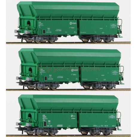 Roco - Lote de tres vagones de Balasto tipo TT, Renfe, Color verde Escala H0, época V. Ref: 67080.