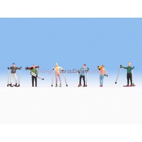 Noch -Conjunto de esquiadores, Seis figuras, Escala H0, Ref: 15827