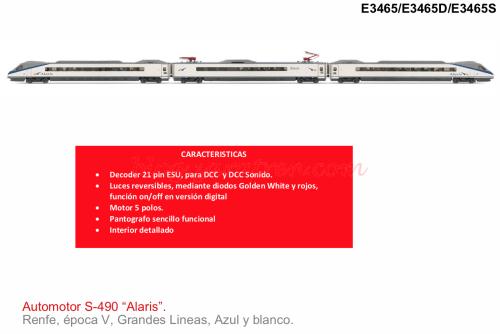 "RENFE, 3-unidades EMU ""Alaris"", librea original Azul y Blanca E3465 A/D/S"