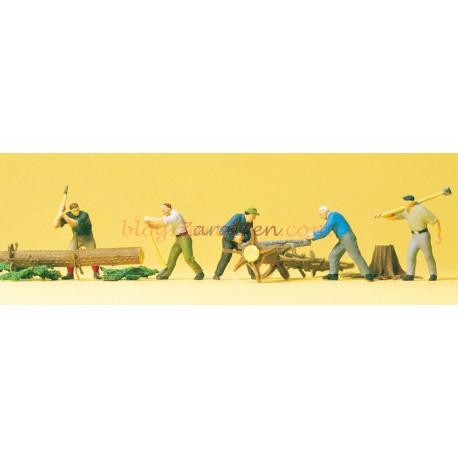 Preiser - Leñadores cortando troncos, 5 figuras, Escala H0, Ref: 10495.