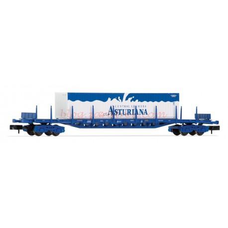 Arnold - Vagón Plataforma tipo Rgs RENFE, Color Azul, Contenedor, Central Lechera Asturiana, 40 pies, Época V, Ref: HN6405