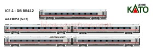 Kato/Lemke - Tren de Alta Velocidad ICE 4, DB AG, 5 coches complementarios, Escala N, Ref: 10951.