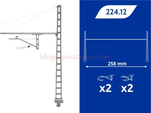 8Train - Portico Rigido Renfe, CR-160, cuatro mensulas, 258 mm, Escala H0, Ref: 224.12.