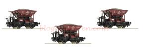 Roco - Set de tres vagones tipo Talbot con Lastre, DB, De set, Epoca III, Escala H0, Ref: 51159V