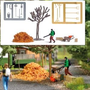 Busch - Limpiador de hojas de jardin con complementos, Escala H0, Ref: 7852.