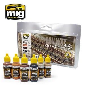 Ammo Mig - Set de colores para ferrocarril, método rápido. Ref: AMIG7471.