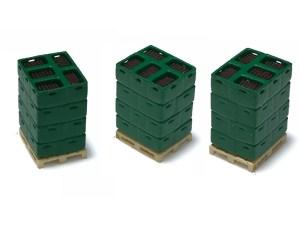 N-Train - Conjunto de 3 Palets cargados de Cajas verdes y Botellas, Escala N, Ref: 211008.