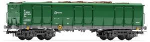 Vagón RENFE tipo Ealos, Verde-Gris, Con carga de Troncos, ENVEJECIDO, Escala H0, Ref: E6541E.