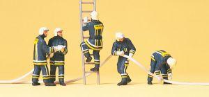 Preiser - Bomberos con ropa operativa, 5 figuras, Escala H0, Ref: 10485.