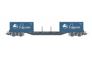 Vagón plataforma Gris oscuro. Tipo Rs. RENFE, Dos Contenedores Pegaso de 20 Pies, Escala H0. Marca Electrotren, Ref: E6547.