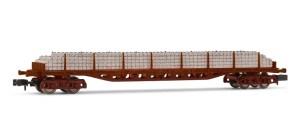 Arnold - Vagón Plataforma tipo Rgs RENFE, Color rojo Oxido, Carga traviesas Homigón, Escala N, Ref: HN6503.
