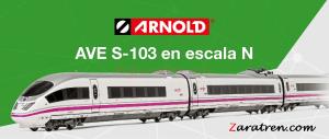Arnold - Tren AVE S-103, 8 coches, Analogico, Digital y D. Sonido, Escala N, Ref: HN2445.