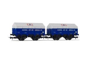 "Electrotren - Set de dos vagones cubiertos, PX de ejes, "" Naviera Astur Andaluza "", Escala H0, Ref: HE6010."
