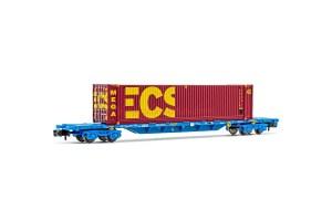 Arnold - Vagón Plataforma tipo MMC, RENFE, Color azul, C. ECS BULK, 45 pies, Escala N, Ref: HN6442.