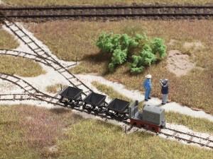 Auhagen - Trenecillo minero con tractor y vagonetas, Escala H0, Ref: 41700.
