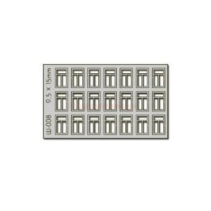 Proses - Conjunto de 21 ventanas de 9.5 x 15 mm, Corte Laser, Escala H0, Ref: W-008.