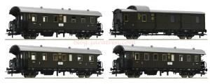 "Roco - Set de tres coches de viajeros mas furgón, "" Donnerbuchse "", DB, Epoca II, Escala H0, Ref: 74102."