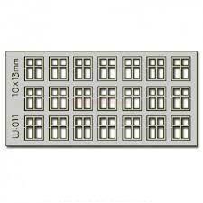 Proses - Conjunto de 21 ventanas de 10 x 13 mm, Corte Laser, Escala H0, Ref: W-011.