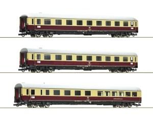 Roco - Set de tres coches de viajeros Trans-Europ-Express, DB, Epoca IV, Escala H0, Ref: 74072.