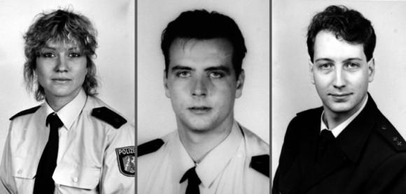 Die Polizisten Yvonne Hachtkemper, Thomas Goretzky (Mitte) und Matthias Larisch von Woitowitz werden im Juni 2000 von dem Rechtsextremisten Michael Berger erschossen ©dpa