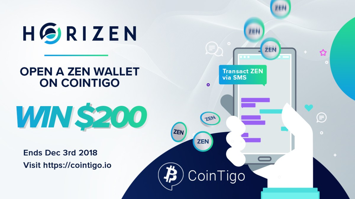 Horizen Partners with CoinTigo - Deposit ZEN Now to Win $200!