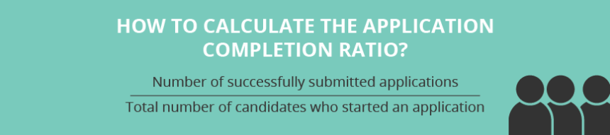 How to calculate the application completion ratio? Number of successfully submitted applications % Total number of candidates who started an application
