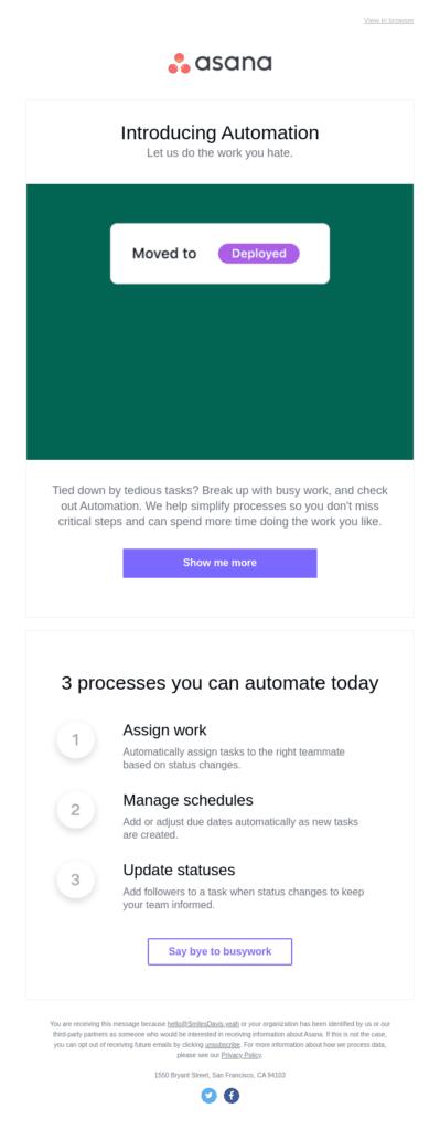 Asana email marketing