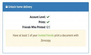 completed Zerocopy profile and printed at least once