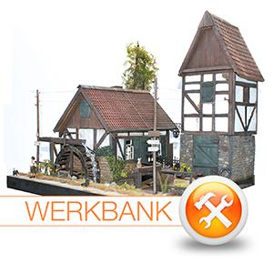 """""""Es klappert die Mühle ..."""" Bau eines Wassermühlen-Dioramas"""
