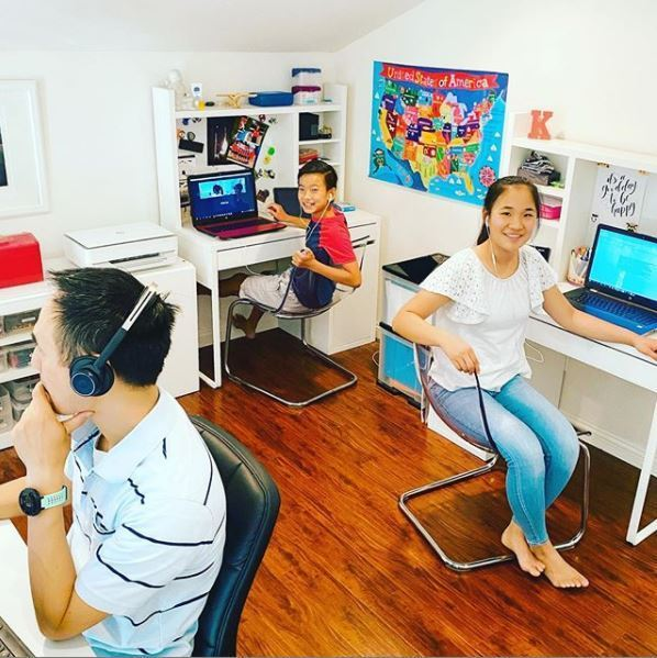 teens doing online school at home