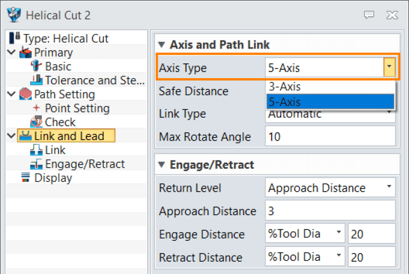 Figure 5. Switch axis types in Axis and Path Link