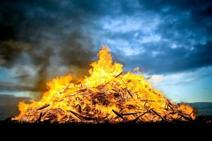 huge bonfire burning at sunset (Dollar Photo Club)