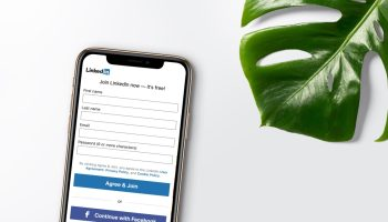 A phone with Linked profile create option on a white background with a green monstera leaf on the side