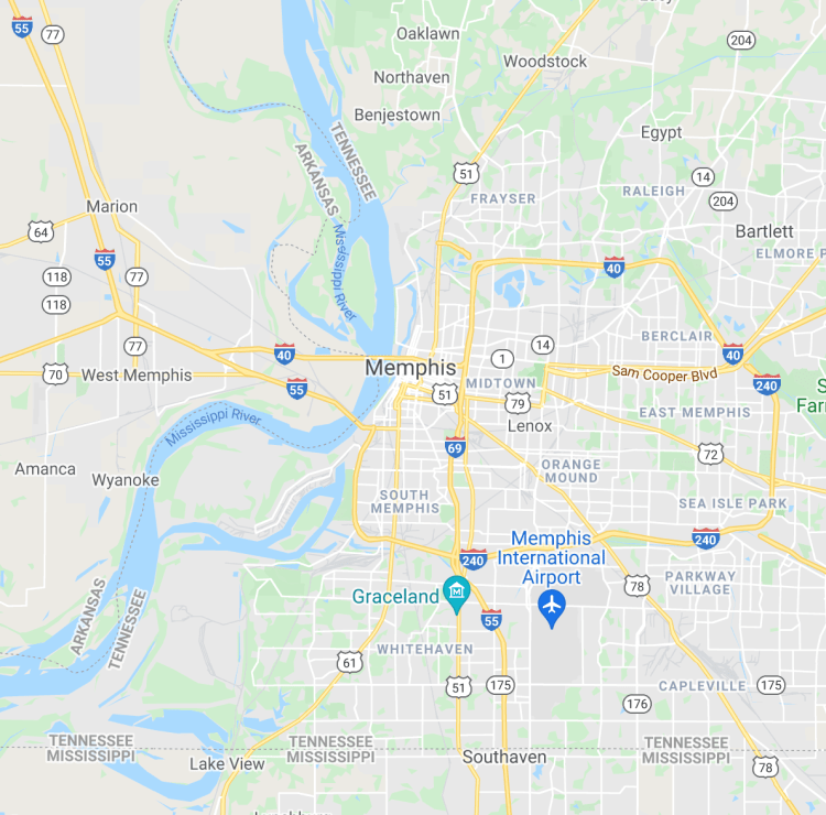roomi's listing map for apartment for rent in memphis